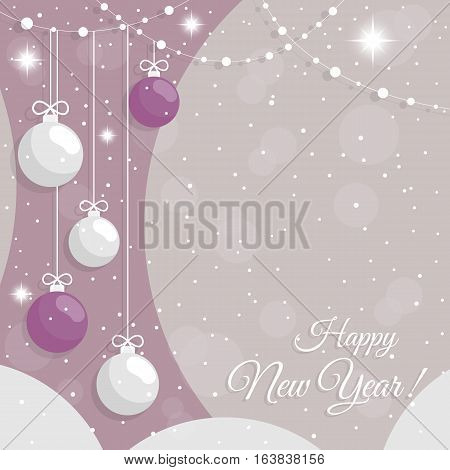 Abstract background with New Year's colorful baubles, crystal snowflakes and snow. It can be used as an invitation, poster, banner, postcard the New Year, Christmas. Vector illustration.