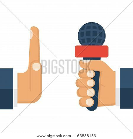 No comments concept. Journalist with microphone in hand, rejection interview. Talk failed. Gesture politics, businessman NO. Vector illustration flat design. Isolated on white background.