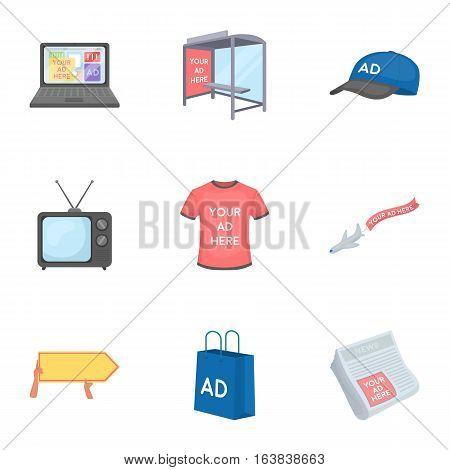 Advertising set icons in cartoon design. Big collection of advertising vector symbol stock illustration