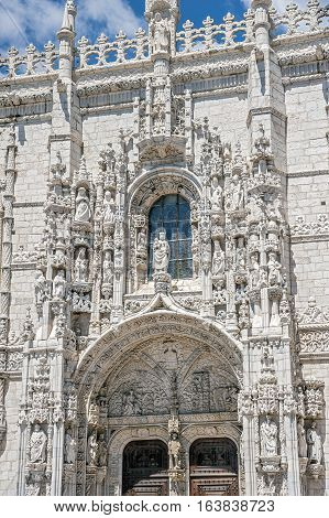 Portugal. Jeronimos Monastery in Lisbon's suburb Belem Jeronimos - the most grandiose monument of late Gothic Manueline style of Portuguese architecture .