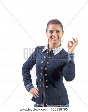 Perfect - business woman showing OK hand sign smiling happy