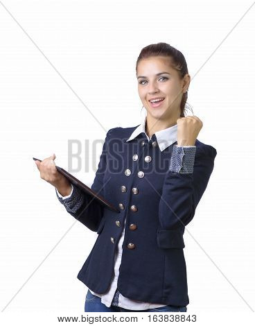 Excited business woman with a touch pad pc