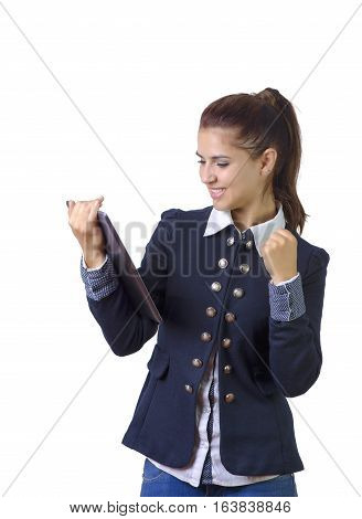 business woman excited looking at touch pad pc