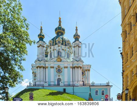 Kiev, Ukraine - May 25, 2013: View of St Andrew's Church on a hill called Andriyivskyy Descent