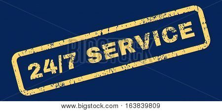 24 Slash 7 Service Text rubber seal stamp watermark. Caption inside rectangular shape with grunge design and dirty texture. Slanted glyph yellow ink emblem on a blue background.