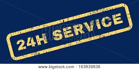 24H Service Text rubber seal stamp watermark. Tag inside rectangular shape with grunge design and dirty texture. Slanted glyph yellow ink emblem on a blue background.