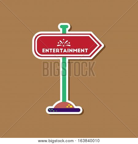 paper sticker on stylish background of sign entertainment