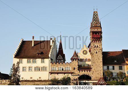 Medieval tower in Bremgarten beautiful town near Zurich canton Aargau Switzerland