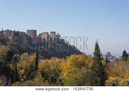 Alhambra Granada, Spain, panoramic views from a viewpoint, beneath the forest with autumn colors