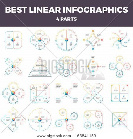 Business infographics. Linear infographic elements, circles, triangles, pyramids, arrows with 4 steps, options, parts. Outline vector pie charts.