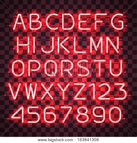 Glowing Red Neon Alphabet with letters from A to Z and digits from 0 to 9 on transparent background. Glowing neon effect. Every letter is separate unit with wires, tubes, brackets and holders.