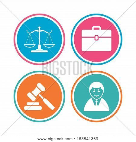 Scales of Justice icon. Client or Lawyer symbol. Auction hammer sign. Law judge gavel. Court of law. Colored circle buttons. Vector