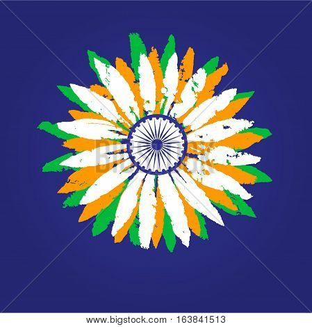 India republic celebration. National holiday poster element. Independence day concept. Colors of Indian tricolor flag. Traditional blue Ashoka Chakra emblem. Vector patriotic event banner background