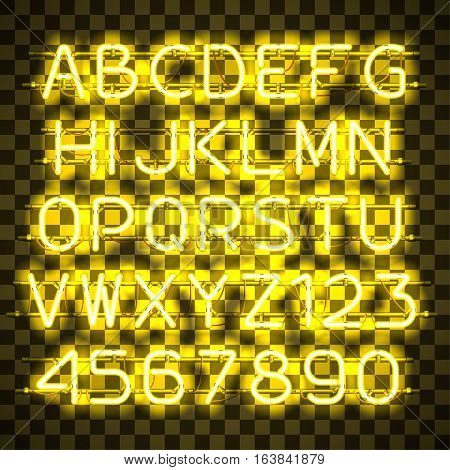 Glowing Yellow Neon Alphabet with letters from A to Z and digits from 0 to 9 on transparent background. Glowing neon effect. Every letter is separate unit with wires, tubes, brackets and holders.