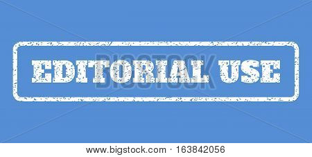 White rubber seal stamp with Editorial Use text. Vector caption inside rounded rectangular frame. Grunge design and dust texture for watermark labels. Horisontal sign on a blue background.