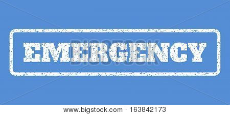 White rubber seal stamp with Emergency text. Vector tag inside rounded rectangular shape. Grunge design and scratched texture for watermark labels. Horisontal sign on a blue background.