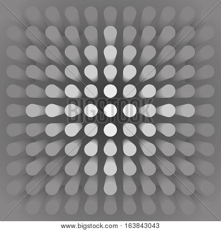 Volume abstract gray background, many pillar, cylinders, 3d vector wallpaper