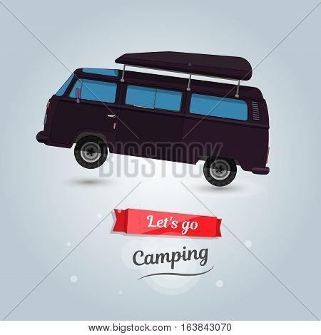 Camping, tourists travel by car. Funny cartoon minivan