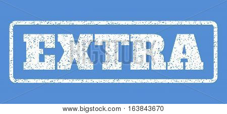 White rubber seal stamp with Extra text. Vector message inside rounded rectangular shape. Grunge design and scratched texture for watermark labels. Horisontal emblem on a blue background.