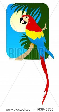 Tropical scene in travel poster style, Macaw in a palm tree