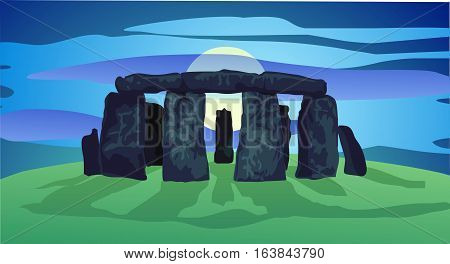 Rising full moon behind neolithic stones at twilight