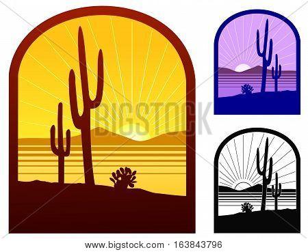 Stylized scene of Arizona desert, with variations