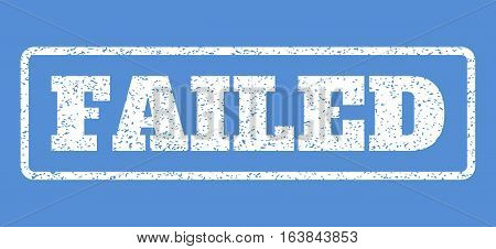 White rubber seal stamp with Failed text. Vector tag inside rounded rectangular frame. Grunge design and scratched texture for watermark labels. Horisontal sign on a blue background.