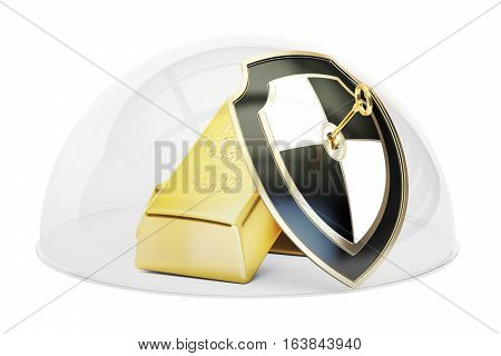Golden bars covered by glass dome. Security and protection concept 3D rendering isolated on white background