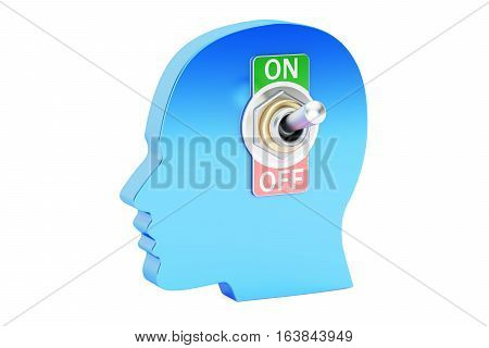 head with switch on-off 3D rendering isolated on white background