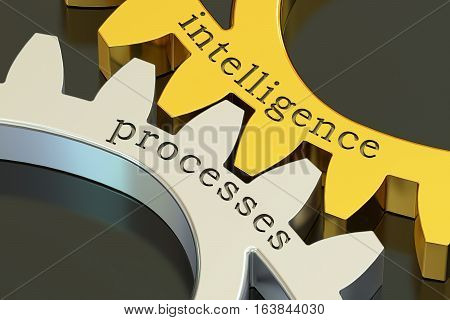 intelligence processes concept on the gearwheels 3D rendering