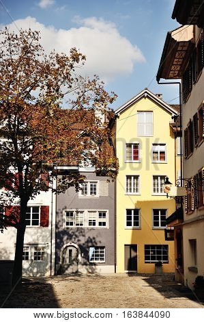 View of characteristic swiss house in Bremgarten beautiful town near Zurich canton Aargau Switzerland