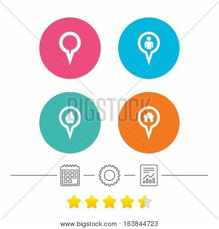 Map circle pointer icons. Home, food and user location symbols. Restaurant and cupcake signs. You are here. Calendar, cogwheel and report linear icons. Star vote ranking. Vector