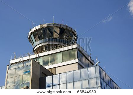 Air Traffic Control Tower On Airport In Prague, Czech Republic
