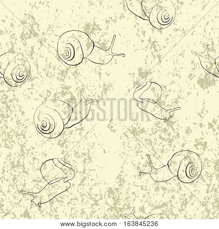 abstract background with sketches of snails seamless pattern.