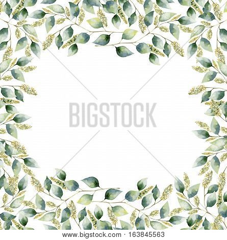 Watercolor floral frame card with eucalyptus leaves. Hand painted border with branches and leaves of seeded eucalyptus isolated on white background. For design or background.