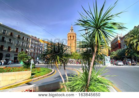 Valencia Spain - December 25 2016: City Center with Plaza de la Reina Architecture.
