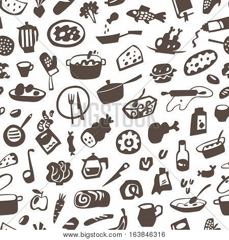 food , cookery - seamless vector pattern with icons