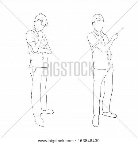 Two human figures, brooding and lead the presentation in the outline style