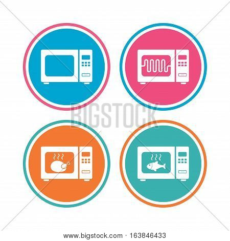 Microwave oven icons. Cook in electric stove symbols. Grill chicken and fish signs. Colored circle buttons. Vector