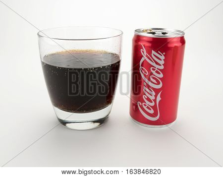 September 5 2916: Athens GA: Illustrative editorial of a glass of freshly poured Coca Cola soda