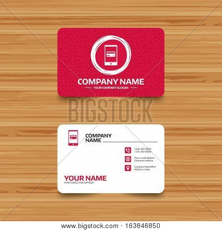 Business card template with texture. Mobile payments icon. Smartphone with credit card symbol. Phone, web and location icons. Visiting card  Vector