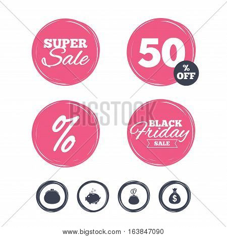 Super sale and black friday stickers. Wallet with cash coin and piggy bank moneybox symbols. Dollar USD currency sign. Shopping labels. Vector