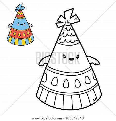 Vector illustration coloring page of happy cartoon party hat for children, coloring and scrap book