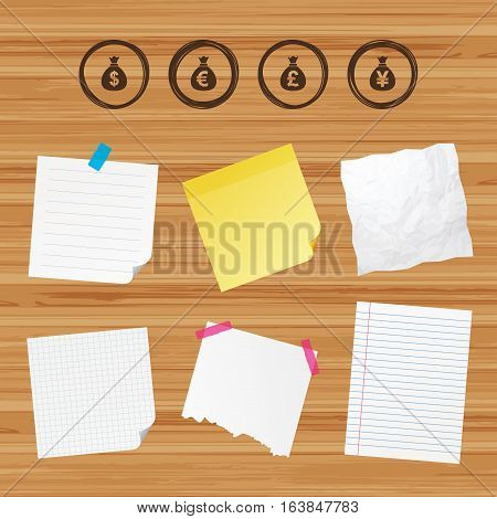 Business paper banners with notes. Money bag icons. Dollar, Euro, Pound and Yen symbols. USD, EUR, GBP and JPY currency signs. Sticky colorful tape. Vector