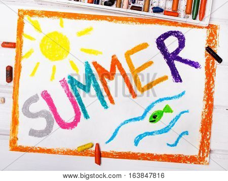 Colorful oil pastels drawing - word SUMMER