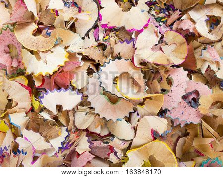 colorful crayons sharpening shavings texture for background