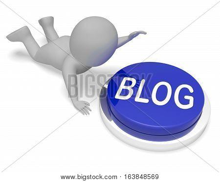 Blog Button For Blogger Or Blogging 3D Rendering