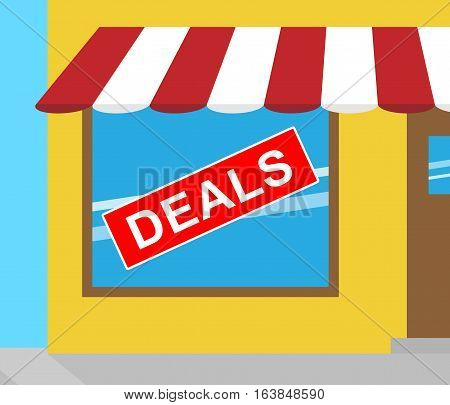 Deals Sign Represents Bargains Discounts 3D Illustration
