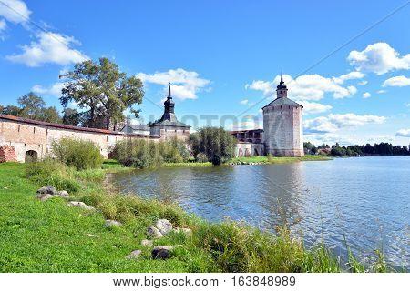 Kirillo-Belozersky monastery and Siverskoe lake by day near City Kirillov Vologda region Russia.