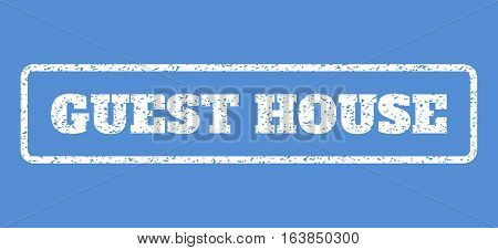 White rubber seal stamp with Guest House text. Vector message inside rounded rectangular banner. Grunge design and scratched texture for watermark labels. Horisontal emblem on a blue background.